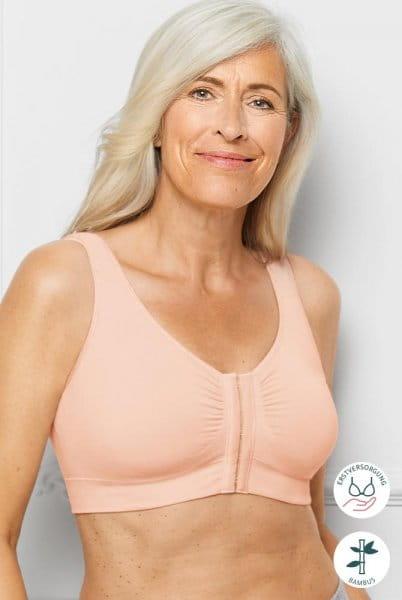 Amoena Prothesen Soft BH Clara 44743 mit Vorderverschluss in nude in der Vorderansicht