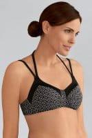 Amoena Prothesen-Bikini-Oberteil Ayon 71117 in schwarz weiß in der Vorderansicht