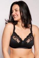 Ulla - BH Ella 3628 ohne Bügel in der Farbe schwarz in der Vorderansicht am Modell