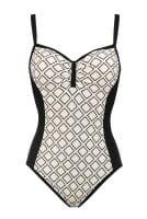 Lidea - Badeanzug Shiny Honeycomb - black-cream-metallic